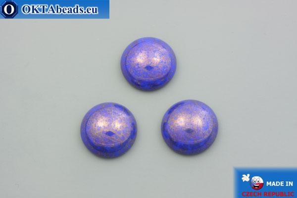 Чешский стеклянный кабошон синий золотой глянец 18мм, 1шт GC031