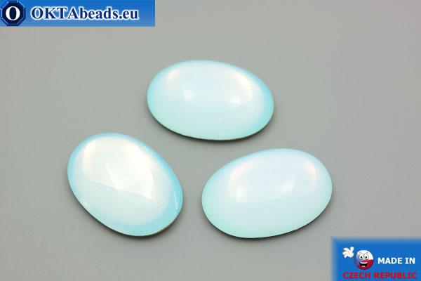 Český skleněný kabošon světle modrý 25x18mm, 1ks GC015
