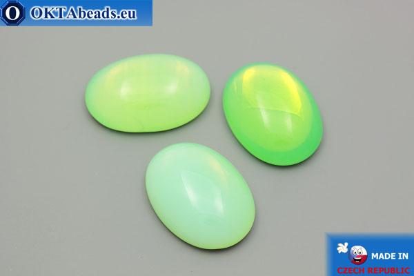 Český skleněný kabošon zelený 25x18mm, 1ks GC016