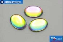 Чешский стеклянный кабошон зеленый - синий 25х18мм, 1шт GC011