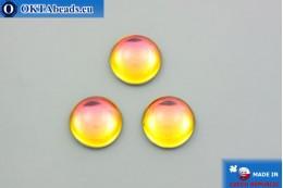 Czech glass cabochon yellow orange 18mm, 1pc GC035