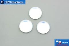 Český skleněný kabošon bílý opal 18mm, 1ks