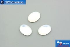Český skleněný kabošon bílý opal 18x13 mm, 1ks