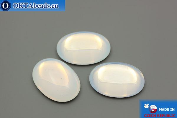 Český skleněný kabošon bílý opal 25x18mm, 1ks