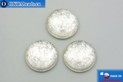 Czech glass cabochon crystal silver 25mm, 1pc