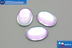 Český skleněný kabošon růžový - světle modrý 25x18mm, 1ks