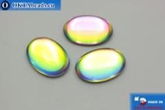 Český skleněný kabošon zelený - modrý 25x18mm, 1ks