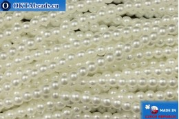 Czech glass pearls white (70402) 3mm, ~75pc 3-GPR029