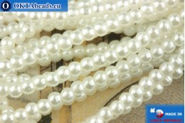 Czech glass pearls white 2mm, ~75pc 2-GPR016