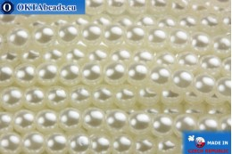 Czech glass pearls white 3mm, 75pc GPR001