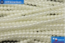 Czech glass pearls white matte (70402M) 3mm, ~75pc 3-GPR030