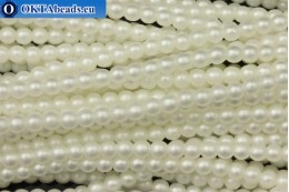 Czech glass pearls white matte (70402M) 4mm, ~60pc 4-GPR030