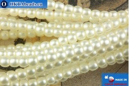 Czech glass pearls white matte 2mm, ~75pc 2-GPR017