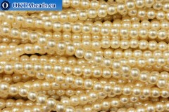 Czech glass pearls beige (70414) 4mm, ~60pc 4-GPR023
