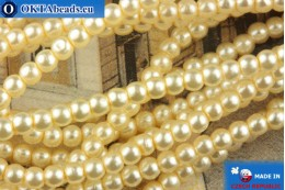 Czech glass pearls beige 2mm, ~75pc 2-GPR028