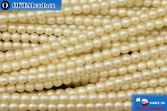 Czech glass pearls beige matte (70414M) 3mm, ~75pc 3-GPR024