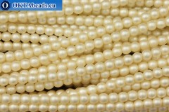 Czech glass pearls beige matte (70414M) 4mm, ~60pc 4-GPR024