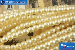 Czech glass pearls beige matte 2mm, ~75pc 2-GPR029