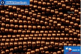 Czech glass pearls bronze (70019) 3mm, ~75pc 3-GPR019
