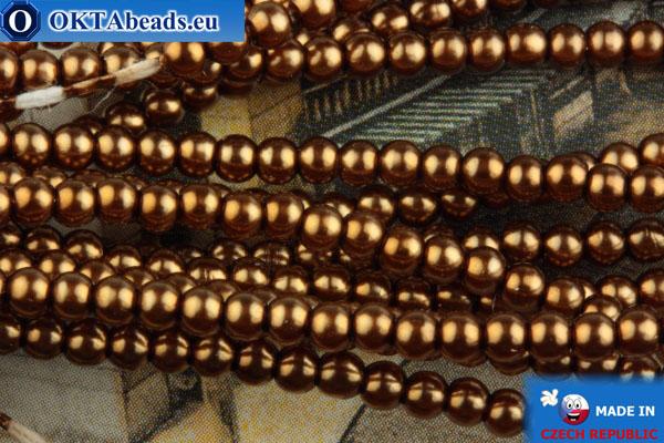 Чешский стеклянный жемчуг бронза 2мм, ~75шт 2-GPR001