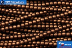 Czech glass pearls bronze matte (70019M) 3mm, ~75pc 3-GPR020