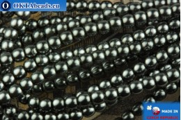 Czech glass pearls hematite 2mm, ~75pc 2-GPR036
