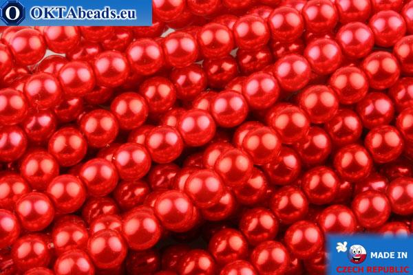 České voskové perle červený 4mm, ~60ks GPR428