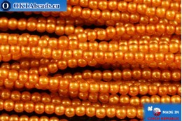 Czech glass pearls orange (70080) 2mm, ~75pc 2-GPR011