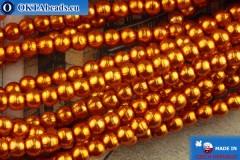 Чешский стеклянный жемчуг оранжевый 2мм, ~75шт