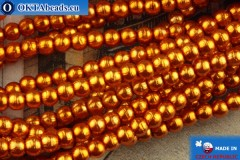 Czech glass pearls orange 2mm, ~75pc 2-GPR015