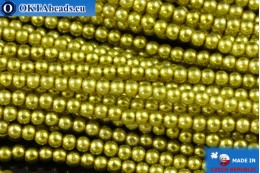 Czech glass pearls chartreuse (70456) 2mm, ~75pc 2-GPR015