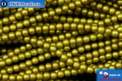 Czech glass pearls chartreuse matte (70456M) 3mm, ~75pc 3-GPR016