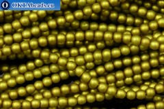 Czech glass pearls chartreuse matte (70456M) 4mm, ~60pc 4-GPR016