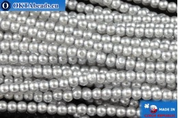 Czech glass pearls grey (70041) 2mm, ~75pc 2-GPR001