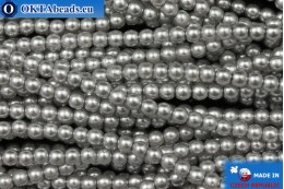 Чешский стеклянный жемчуг серый (70041) 3мм, ~75шт 3-GPR001