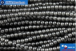 Czech glass pearls grey (70448) 2mm, ~75pc 2-GPR007
