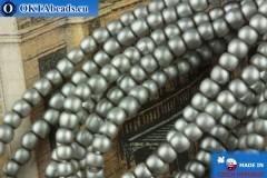 Чешский стеклянный жемчуг серый матовый 2мм, ~75шт