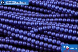 Czech glass pearls blue matte (70033M) 2mm, ~75pc 2-GPR006