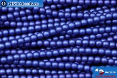 Czech glass pearls blue matte (70033M) 3mm, ~75pc 3-GPR006