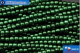 Czech glass pearls green (70057) 3mm, ~75pc 3-GPR013
