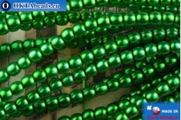 Czech glass pearls green 2mm, ~75pc 2-GPR012