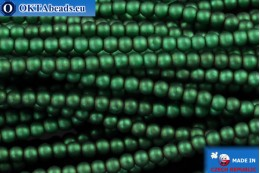 Czech glass pearls green matte (70057M) 2mm, ~75pc 2-GPR014