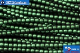 Czech glass pearls green matte (70057M) 3mm, ~75pc 3-GPR014