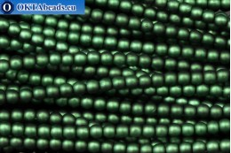Czech glass pearls green matte (70057M) 4mm, ~60pc 4-GPR014