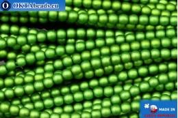 Czech glass pearls green matte (70459M) 3mm, ~75pc 3-GPR034