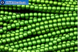 Czech glass pearls green matte (70459M) 4mm, ~60pc 4-GPR034