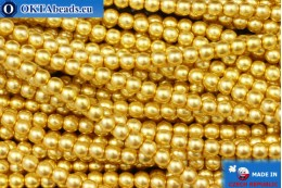 Czech glass pearls gold (70686) 3mm, ~75pc 3-GPR017
