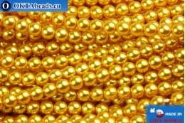 Czech glass pearls gold 4mm, 60pc GPR431