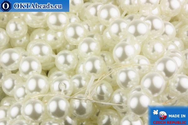 České voskové perle bílý 8mm, ~38ks