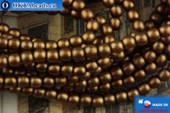 Czech glass pearls bronze matte 2mm, ~75pc